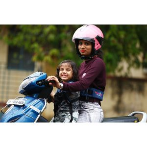 KIDSAFEBELT - Two Wheeler Child Safety Belt - World's 1st, Trusted & Leading (Air Navy Blue), blue