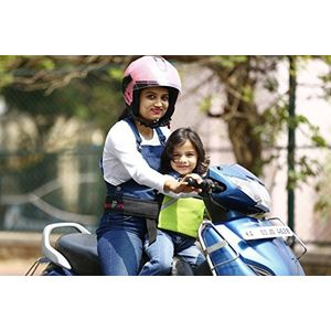 KID SAFE BELT - Two Wheeler Child Safety Belt - World's 1st Trusted & Leading (Sport Parrot Green), green