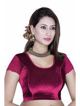 Gargi Ladies -Net On Short Sleeve Velvet - Lycra Round Neck Blouse (OGBL-130-RANI), m
