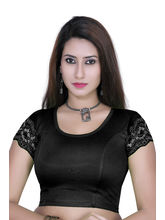 Gargi Ladies 4-Way Stretchable Body With Net On S/Sleeve Blouse (OGBL-530-BLACK), l