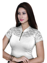 Gargi Ladies 4-Way Stretchable Blouse With Net On Short Sleeve (OGBL-550-OFF WHITE), m
