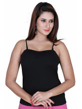 Gargi Ladies Ribbed Cotton Lycra Camisole (OGSL-17-AARYA-BLACK), l