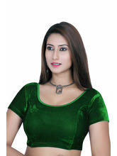 Gargi Ladies Short Sleeve Velvet Lycra Blouse (OGBL-120-GREEN), m