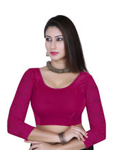 Gargi Ladies -Net On 3/4Th Sleeve Velvet Lycra Round Neck Blouse (OGBL-360-MAGENTA), l