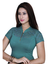 Gargi Ladies 4-Way Stretchable Blouse With Net On Short Sleeve (OGBL-550-FIROZI), m
