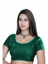 Gargi Ladies Short Sleeve Velvet Lycra Blouse (OGBL-120-R. GREEN), m