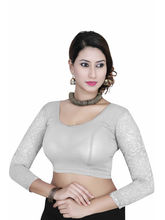 Gargi Ladies 4-Way Stretched Round Neck With 3/4Th Net Sleeves Blouse (OGBL-560-OFF. WHITE), m
