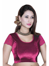Gargi Ladies -Net On Short Sleeve Velvet - Lycra Round Neck Blouse (OGBL-130-MAGENTA), m