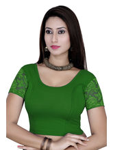 Gargi Ladies Short Sleeve Blouse - 4 Way Stretch -Swoop Back Neck (OGBL-620-R. GREEN), m