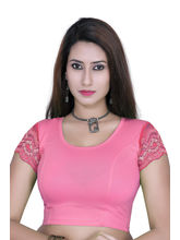 Gargi Ladies 4-Way Stretchable Body With Net On S/Sleeve Blouse (OGBL-530-PINK), m