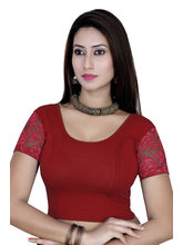 Gargi Ladies Short Sleeve Blouse - 4 Way Stretch -Swoop Back Neck (OGBL-620-B. RED), m