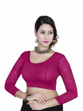 Gargi Ladies 4-Way Stretched Round Neck With 3/4Th Net Sleeves Blouse (OGBL-560-MAGENTA), l