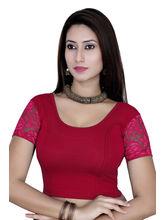 Gargi Ladies Short Sleeve Blouse - 4 Way Stretch -Swoop Back Neck (OGBL-620-DK. RANI), m