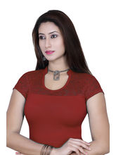 Gargi Ladies 4-Way Stretchable Blouse With Net On Short Sleeve (OGBL-540-DK. MAROON), l