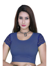 Gargi Ladies 4-Way Stretchable Body With Net On S/Sleeve Blouse (OGBL-530-ROYAL BLUE), m