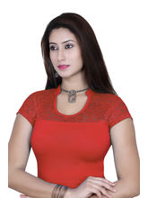 Gargi Ladies 4-Way Stretchable Blouse With Net On Short Sleeve (OGBL-540-BLOOD RED), l