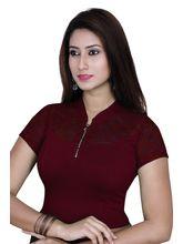 Gargi Ladies 4-Way Stretchable Blouse With Net On Short Sleeve (OGBL-550-DK. MAROON), m