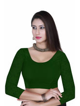 Gargi Ladies -Net On 3/4Th Sleeve Velvet Lycra Round Neck Blouse (OGBL-360-R. GREEN), l