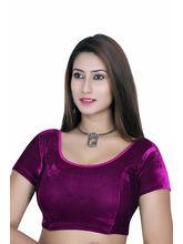 Gargi Ladies Short Sleeve Velvet Lycra Blouse (OGBL-120-MAGENTA), m