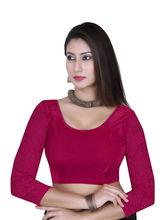 Gargi Ladies -Net On 3/4Th Sleeve Velvet Lycra Round Neck Blouse (OGBL-360-RANI), l