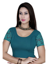 Gargi Ladies Short Sleeve Blouse - 4 Way Stretch -Swoop Back Neck (OGBL-620-B. GREEN), l