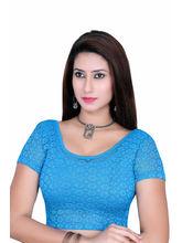 Gargi Ladies Short Sleeve 4 Way Stretch Net Blouse (OGBL-590-FIROZI), m