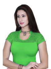 Gargi Ladies 4-Way Stretchable Blouse With Net On Short Sleeve (OGBL-540-P. GREEN), l