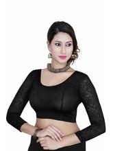 Gargi Ladies 4-Way Stretched Round Neck With 3/4Th Net Sleeves Blouse (OGBL-560-BLACK), m