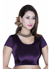 Gargi Ladies -Net On Short Sleeve Velvet - Lycra Round Neck Blouse (OGBL-130-PURPLE), l