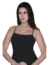 Gargi Ladies Ribbed Cotton Lycra Camisole (OGSL-18-SONALI-BLACK), m