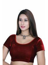Gargi Ladies Short Sleeve Velvet Lycra Blouse (OGBL-120-MAROON), l