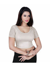 Gargi Ladies Short Sleeve Blouse - Dty Shimmer Stretch-Swoop Back Neck (OGBL-460-SILVER), m