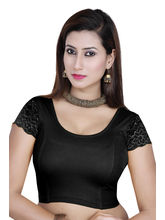 Gargi Ladies -Net On Short Sleeve In 4Way Stretch -Round Neck Blouse (OGBL-310-BLACK), l