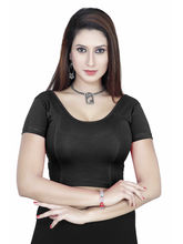 Gargi Ladies Short Sleeve 4-Way Stretched Round Neck Blouse (OGBL-100-BLACK), m