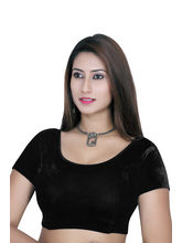 Gargi Ladies Short Sleeve Velvet Lycra Blouse (OGBL-120-BLACK), m
