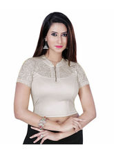 Gargi Ladies Dty Shimmer Stretchable Blouse With Net On Short Sleeve (OGBL-450-SILVER), l