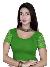 Gargi Ladies Short Sleeve Blouse - 4 Way Stretch -Swoop Back Neck (OGBL-620-P. GREEN), m