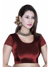 Gargi Ladies -Net On Short Sleeve Velvet - Lycra Round Neck Blouse (OGBL-130-MAROON), m