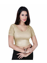 Gargi Ladies Short Sleeve Blouse - Dty Shimmer Stretch-Swoop Back Neck (OGBL-460-COPPER), l