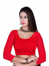 Gargi Ladies -Net On 3/4Th Sleeve Velvet Lycra Round Neck Blouse (OGBL-360-B. RED), l