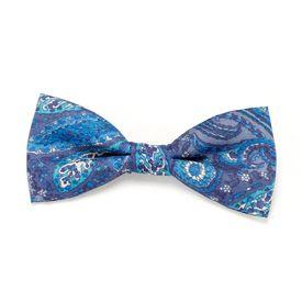 Navy Blue Paisley Print Thin Single Bow