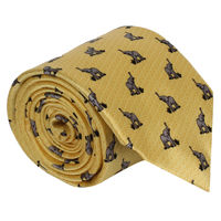 Yellow Elephant Pattern Silk Tie