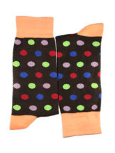 Chocolate brown polka dots full length socks