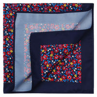 Navy Blossom Pocket Square