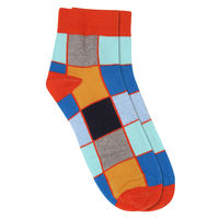 Chasquido Rainbow Check Orange Low Cut Socks