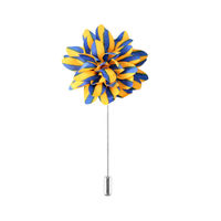 Yellow with Blue Stripes Flower pin