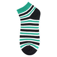 Black/Green Striped Low Cut Socks
