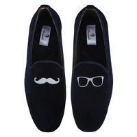 Chasquido Navy Moustache/Specs Slip-ons, 9