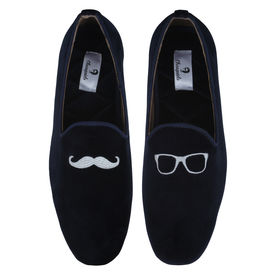 Chasquido Navy Moustache/Specs Slip-ons, 7