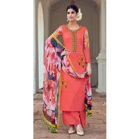 Pure Soft Cotton Satin Dress material,  deep peach, standard
